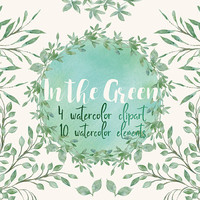 In the Green | wedding clip art, watercolor foliage, foliage clipart, greenery, botanical, green leaves, leaves wreath, leaves, wedding diy