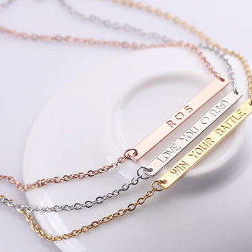 Custom Name Plate Bar Necklace - Personalized Rose Gold Bar Necklace - Horizontal Inital Bar Necklace - Monthers Gift