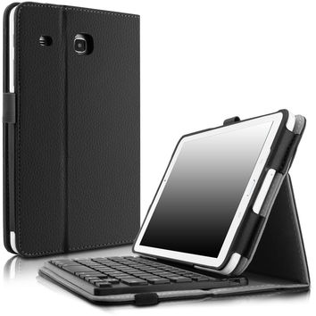 Samsung Galaxy Tab E 8.0 Keyboard Case Infiland Folio Slim Fit PU Leather Case Cover with Magnetically Detachable Bluetooth Keyboard For Samsung Tab E 8.0-Inch SM-T377 4G LTE Tablet Black