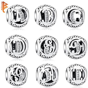 Sterling Silver Jewelry Crystal Alphabet -Letter Charms Beads Original Bracelet Necklace Jewelry Making