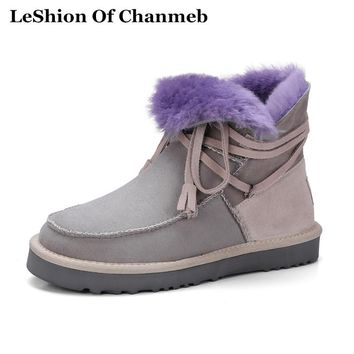 Patchwork Thick 50% Sheep Fur Women Snow Boots Warm Winter Thermal Australian Ankle Boots Woman Fringe Tassel Boots Female Shoes