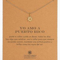Women's Dogeared 'Yo Amo A Puerto Rico' Sun Pendant Necklace