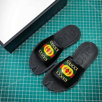 Gucci Leather Slide With Bow Black #2 Sandals