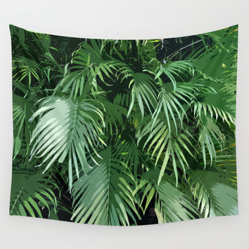 Jungle Palms - Wall Tapestry, Green Tropical Palm Fronds, Beach Surf Bohemian Interior Accent Throw Cover. In 51x60 / 68x80 / 88x104 Inches