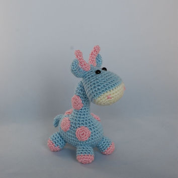 Amigurumi Little BluePink Giraffe baby shower gift by ZayaLosya