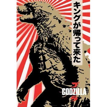 Godzilla Japanese Movie poster Metal Sign Wall Art 8in x 12in