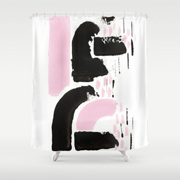 Minimal black & pink 03 Shower Curtain by vivigonzalezart