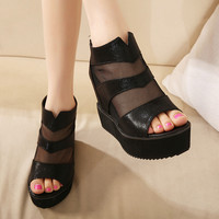 Stylish Design Korean Summer Shoes Sexy Hollow Out Lace Wedge Height Increase Peep Toe Casual Sandals [6044950657]