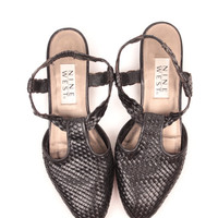 woven leather sandals // sling back // size 9