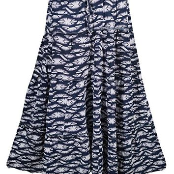 Mogul Womens Maxi Skirt Cotton Printed Tiered A-Line Bohemian Flirty Festive Skirts