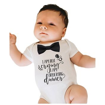 Baby Boy Outfit with Funny Saying and Black Bow Tie Coming Home Onesuit