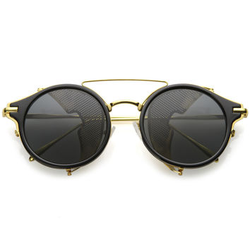 Vintage Dapper Steampunk Side Cover Round Sunglasses C083