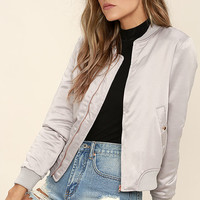 Glamorous Baby It's You Light Grey Satin Bomber Jacket
