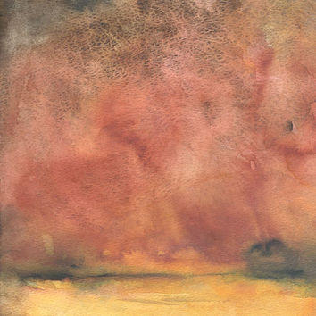 Abstract Watercolor Painting Landscape Autumn Fine Art 9 x 12