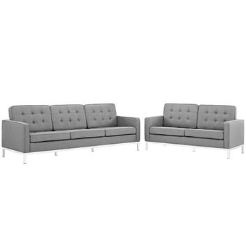 "Loft Living Room Set Upholstered Fabric Set of 2, Light Gray Size : 31""Lx63""Wx32""H -Modway"