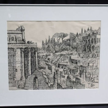 Original Pen and Ink Drawing of Palatine Hill in Rome by American Wisconsin Artist Santos Zingale