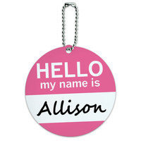 Allison Hello My Name Is Round ID Card Luggage Tag