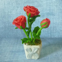 Red rose pot artificial clay flower 4 inch/Mini rose /Dollhouse miniture /Miniature clay flower pots/ Miniature flower