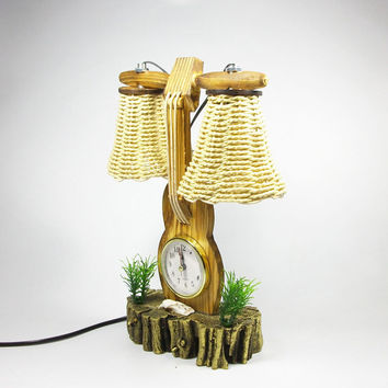 Violin Clock With 2 Lamps Wooden Desk Night Light Home Decoration Bedroom Berth Lamp