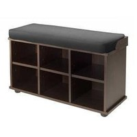 Winsome Townsend Bench with Black Cushion Seat