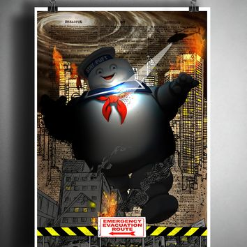 Stay puft marshmallow man, ghostbusters art, horror movie pop art