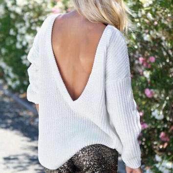White Backless Knit Long Sleeve Sweater