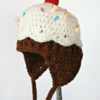 Sweet Baby Cupcake Hat with Sprinkles - Size Newborn 0-3 Months - Made to Order