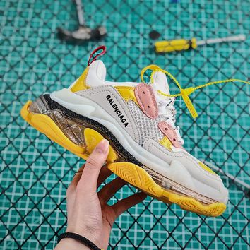 Balenciaga Triple S Clear Sole Trainers Grey/Yellow/Pink - Best Online Sale