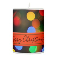 Multicolored Christmas lights. Add text or name. Pillar Candle