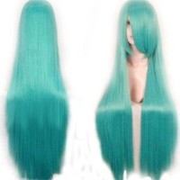 """40"""" Crypton Future Media Vocaloid Straight Cosplay Wig (Model: Jf010078) (Cyan)"""