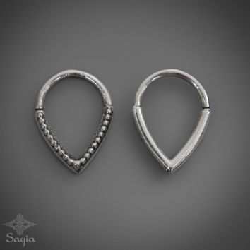 Silver Septum Jewelry, Tribal Tear Drop Septum Ring, Sterling Silver Nose Ring, Indian Nose Jewelry By Sagia