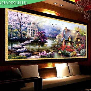 QIANZEHUI ,Needlework, DIY Dream house Cross stitch ,Sets For Embroidery kits,small house garden home decro Counted Cross-Stitch
