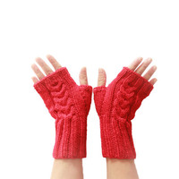 Knit Fingerless Gloves - Winter Mittens - Red Wrist Warmers - OK