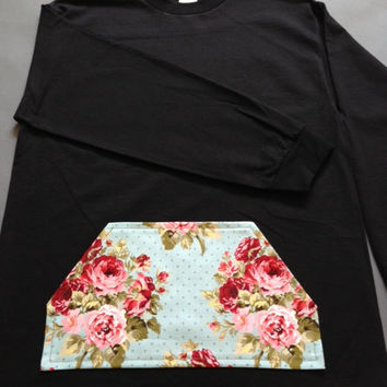 New Mens Long Sleeve tee with Custom Floral Pocket by HermsApparel