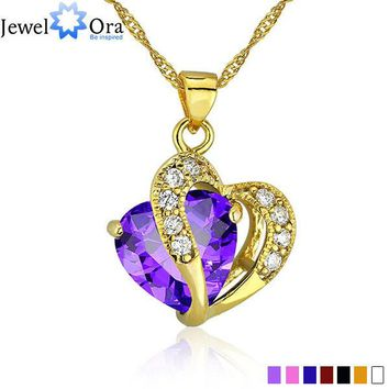Multi-Color Heart Jewelry For Women Gold Color CZ Pendant Necklace With Chain Necklaces & Pendants (JewelOra PE000047)