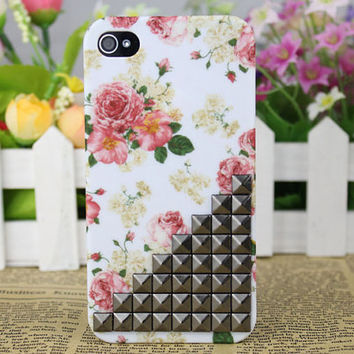 Black Stud And  Rose  Hard Case Cover for Apple iPhone 4gs Case, iPhone 4s Case, iPhone 4 Hard Case