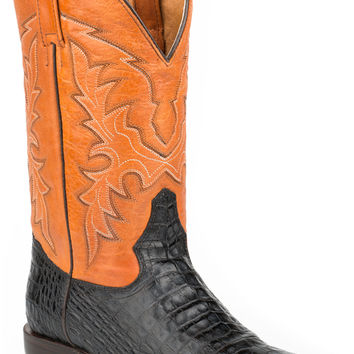 Roper Mens Faux Exotic On Leather Sq Toe Boots Alligator Belly
