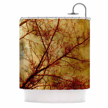 """Sylvia Coomes """"Gothic Red Tree"""" Gold Nature Shower Curtain"""