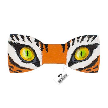 Wooden Tiger Eyes Bow Tie