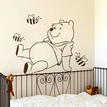 Winnie The Pooh Wall Decals Bear Decal Nursery Baby Room Decor Vinyl Art MR457