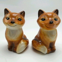 Fox Salt And Pepper Shaker Set Ceramic 3 inch New in package