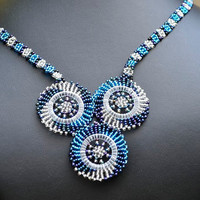 Blue statement necklace,Three circle necklace,Blue Beaded necklace,Blue African necklace,Traditional beadwork,Spiral necklace
