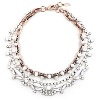 White Out Crystal & Spikes Necklace - Rose Gold/ White