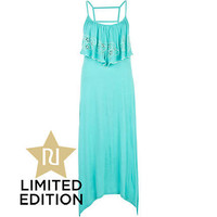 Turquoise tiered frill maxi dress