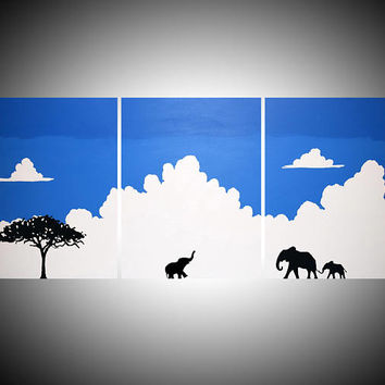 elephant good luck animal african art landscape pop abstraction clouds contemporary AFRICA animal 48 x 16""