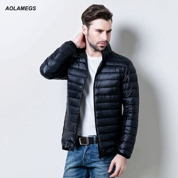 Aolamegs Men Winter Down Jacket Ultralight Thin White Duck Down Coat Solid Color Feather Jackets Male Windproof Warm Outwear 3XL