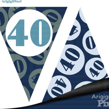 40 rocks printable banner, blue birthday party decoration, 40th birthday, Pdf file instant download, ready to print and cut, DIY