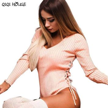 Sexy Rompers Long Sleeve Hollow Out Pink Slim One Piece Jumpsuit V-Neck Tops One Piece Bodysuits For Women#C905
