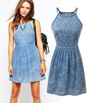 Summer High Rise Denim Spaghetti Strap Dress One Piece Dress [4920239108]