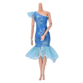 "Cute Blue Mermaid Dress for 9"" Barbie Doll Beautiful Handmade Party Clothes Dress"